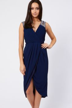 TFNC Evening Dress<br /> <br /> - Delicate chiffon fabric<br /> - Cross over front <br /> - Beautiful embellishment detailing <br /> - Pleating to bust <br /> - Concealed zip to reverse<br /> <br /> Care: Polyester. Hand Wash Only. Navy Midi Dress, Dress Skirt, Wrap Dress, Tfnc, Evening Dresses, Formal Dresses, Green Fashion, Chiffon Fabric, Stylish Girl