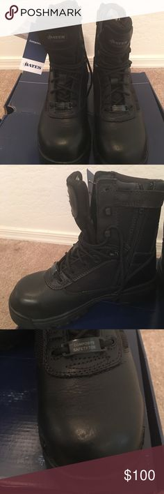 """Never Worn Steeled Toe Boot One of Bates most popular styles, this classic 8"""" tactical boot features a side zip for easy on and off and a non-metallic composite toe for safety and protection. • Durable Leather and Nylon Upper  • Mesh Lining for Added Breathability  • Non Metallic ASTM F2413-11 Rated Composite Toe  • Electrical Hazard Protection  • Nylon Side Zipper for Easy On and Off  • Cushioned Removable Insert for Added Comfort  • Slip Resistant Rubber Outsole for Traction WILL FIT…"""