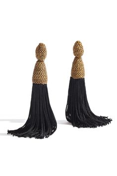 Add a movement to your look with Oscar de la Renta's Silk Tassel Earrings.