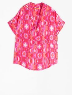 Monica Pink Blouse – Ginger Howard Selections Polka Dot Top, The Selection, Short Sleeves, Men Casual, Silk, Abstract Print, Fitness, Mens Tops, Blouses