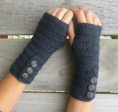Crochet Patterns Arm GREY Crochet Arm Warmers With Fancy Buttons or a Custom Colour Crochet Mittens, Crochet Gloves, Crochet Slippers, Cute Crochet, Knit Crochet, Easy Crochet, Crochet Wrist Warmers, Hand Warmers, Fancy Buttons