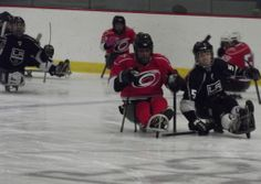 LA Kings vs. Carolina Hurricanes sled hockey, November 23, 2013 at RMU Island Sports Center near Pittsburgh, Pennsylvania . In this game, Carolina got out to an early lead, 1-0, but the Kings tied it up with 1.8 seconds left in the third. The game went to an 8 round shootout and the Canes ended up winning, but it was an exciting and fun game all around.
