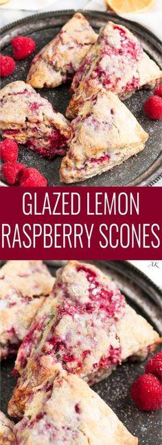 Lemon Raspberry Scones topped with a sweet lemon glaze