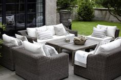 Outdoor furniture sets are particularly well-suited for areas such as patios, pools, decks, balconies, and yards. Most outdoor furniture sets are made. Outdoor Furniture Stores, Outside Furniture, Outdoor Garden Furniture, Lounge Furniture, Teak Furniture, Outdoor Areas, Outdoor Lounge, Outdoor Living, Outdoor Decor