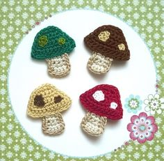 4pcs - Colorful Mushrooms / Toadstool Crochet Appliques in green, red, honey gold and brown