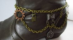 Steampunk Boot Bracelet - Check out this item in my Etsy shop https://www.etsy.com/listing/213914897/steampunk-boot-bracelet-steampunk