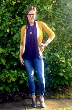 Fall Finds: Kam Dhillon Glasses: $49 (Clearly Contacts), Yellow Sweater: $10 (Joe Fresh), Purple Tank: Free (Clothing Swap), Vintage Embroidered Necklace: Free (a friend), Costume Rings: $4 (thrifted), Mavi Jeans: Free (bartender their Xmas party), Grey Leather Boots: $4 (thrifted), Gold Nail Polish: $4 (Revlon) TOTAL COST: $73  #MaviJeans #ClearlyContacts #KamDhillonGlasses #RevlonGold #JoeFresh #ThriftStore #Vintage