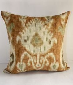 pillow in Kravet Ikat.great design and color! Ikat Pillows, Cushions, Global Decor, Ikat Print, Ikat Fabric, Rustic Chic, Fabric Patterns, Pillow Covers, Textiles