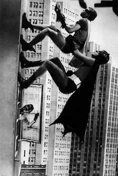 Batman and Robin. Hilarious when they climbed up the building and the stars who would pop out the window. In this scene Sammy Davis Jr. I loved this episode!