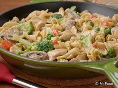 Chicken Noodle Skillet:  use Rotini, Farfalle, Cavatappi or Gemelli noodles rather than an egg noodle.