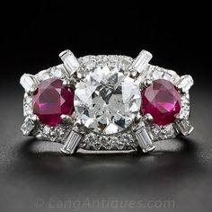 a783a902c0a85 1.60 Carat Diamond and Ruby Three-Stone Ring in Platinum