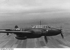 """Messerschmitt Bf-110F-2, """"3C+AR"""", piloted by Oberleutnant Hans-Karl Kamp (21 Kills. KIA 31.12.1944) Staffelkapitän 7./ Nachtjagdgeschwader 4 (NJG 4), flying near the Juvincourt Airfield, Aisne, department of northern France. 21 June 1942. by World War 2 Photos, via Flickr"""