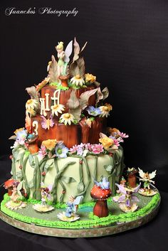 Tinker bell cake by Dream Cakes2010, via Flickr Fairy House Cake, Fairy Garden Cake, Garden Cakes, Fairy Cakes, 6th Birthday Cakes, Birthday Cake Girls, Character Cakes, Dream Cake, Disney Cakes