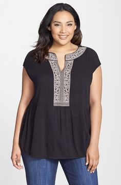 Caslon® Embroidered Boho Top (Plus Size) available at #Nordstrom