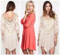 Umgee USA Crochet Mix Boho Hippie Long Tunic or Dress -Top S-L CORAL WHITE BEIGE #UmgeeUSA #Tunic #SummerBeach