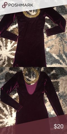 Long sleeve open back velvet dress Sexy burgundy velvet dress American Apparel Dresses Midi