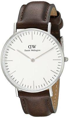 Daniel Wellington 0209DW - Reloj para hombre con correa de cuero, color blanco / gris