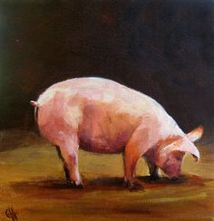 Pig Painting Hungry Paper Print of an Original by CariHumphry
