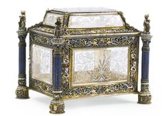 A rock crystal and lapis lazuli casket with enamelled silver-gilt mounts, Hermann Böhm, Vienna, late 19th century | Lot | Sotheby's