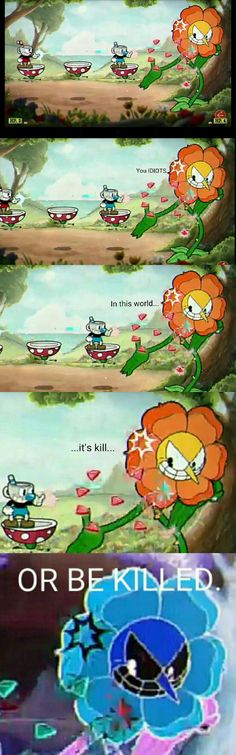 Am I not the only one who thought of Flowey  when I saw this Cuphead boss?