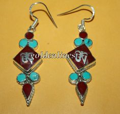 Nepalese Tibetan Handmade Coral Turquoise Earring by goldenlines