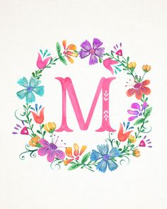 M Floral Wreath Monograms (The Cottage Market) Monogram Wallpaper, L Wallpaper, Alphabet Wallpaper, Wallpaper Backgrounds, Monogram Wreath, Monogram Letters, Floral Letters, Jolie Photo, Letter Art