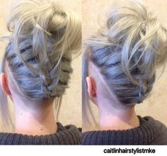 Messy braided updo shaved sided hairstyle