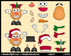 Potato Buds Christmas Digital Clip Art - Commercial Use Graphic Image Png Clipart Set - Instant Download - Christmas Santa Elf