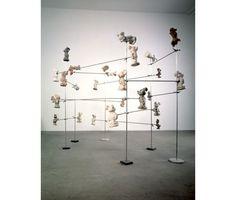 Dennis Oppenheim  Virus, 1988 Cast Figures, Aluminum Rods, Scientific Clamps, Marble 6'(H) x 6'(W) x 6'(D) Ace Gallery Los Angeles
