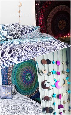 Bohemian Bedroom Design & Decor by Lady Scorpio. Mandala Tapestries & Duvets | Moon Phases Wall Hanging Decor | photography by Stephanie Renfro