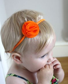 Headband - Baby Headband - Headband for Babies / Toddlers - Orange Felt Flower - Baby Hairband. $7.90, via Etsy.