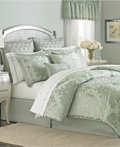 Martha Stewart Collection Regal Damask 24 Piece California King Comforter Set - Bed in a Bag - Bed Bath - Macy's Blue Comforter Sets, Bedding Sets, Home Bedroom, Bedroom Decor, Master Bedroom, Damask Decor, Bed In A Bag, Buy Bed, Beautiful Bedrooms