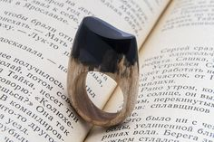 LIMERENCE wooden resin ring Eco epoxy jewelry Green Wood the