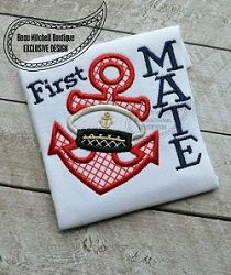 First Mate Applique - 4 Sizes! | What's New | Machine Embroidery Designs | SWAKembroidery.com Beau Mitchell Boutique