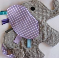 Lavender Polka Dot Elephant Baby Sensory Lovey Blanket