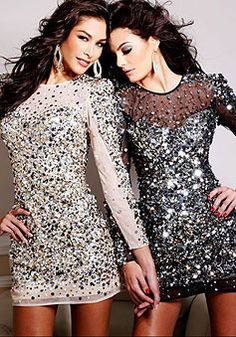 shining sheath jewel long sleeves sequined short prom dress picture 2