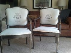 Pair of French Berger chairs with my personal touch!