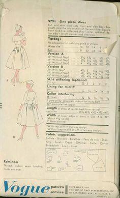 Vintage 50s Vogue 9794 ROCKABILLY Shawl collar by sandritocat, $35.00