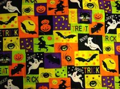1 Yard Bright Halloween Fabric Patchwork, ghosts, witches, goblins, bats, more Free Shipping