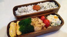 posted by @hiroko_13d 今日のお弁当日の丸ご飯玉子焼きブロッコリーしょうが焼きポテサラ#お弁当...