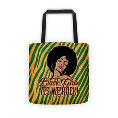 Black Girls Yes We Rock! Zebra Tote Bag We Rock, Black Girls, Reusable Tote Bags, Fabric, Accessories, Collection, Tejido, Tela, Cloths