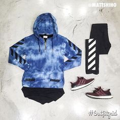 by outfitgrid - Today's top #outfitgrid is by @mattshiho. #OffWhite #Hoodie & #Denim #FearOfGod #Longsleeve #Adidas #UltraBoost