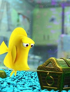"Finding Nemo - Bubbles (Stephen Root) is a hyperactive yellow tang fish. He was bought by Philip Sherman from a store called ""Fish-o-rama."" He has a peculiar obsession over the bubbles that come out of a small treasure chest decoration in the fish tank; hence his name."