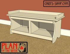 Plan of the Week: Entry Storage Bench I would add dividers at the top of the storage underneath for shoes, a low basket below with the other side open for purses or balls. Maybe even hang a robe hook on one end to hold purses. Entry Storage Bench, Shoe Storage Plans, Entry Bench, Wood Projects For Kids, Woodworking Projects For Kids, Project Ideas, Diy Projects, Craft Ideas, Dreams For Kids