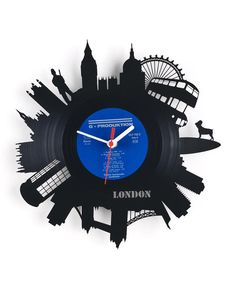 """Wall clock """"London"""" Re Vinyl is an upcycling product fashioned from old vinyl records. By altering the functions of used products for new uses, it effectively reduces the disposal of potentially useful materials and the . Wall Clock London, Clock Wall, Rock Clock, Old Vinyl Records, Laser Cutter Projects, Cool Clocks, Unusual Gifts, Dot And Bo, Vinyl Art"""