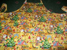 Handmade Bib Apron w/pocket Christmas Santa Claus with Elves in his Workshop  #Handmade #Apron