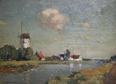 Artwork by Cornelis Vreedenburgh, Dutch river landscape, Made of oil on panel Dutch Painters, Landscape Photos, River, Fine Art, Selection, Artwork, Windmills, Pictures, Oil Paintings