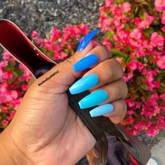 Minimal Blue Nail Art Design for Winter 2019 Blue Acrylic Nails, Coffin Nails Matte, Summer Acrylic Nails, Summer Nails, Fall Nails, Winter Nails, Long Nails, My Nails, Colorful Nail Designs