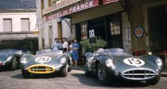 Aston Martin Racing at the Hotel de France in Le Mans in the at Aston Martin headquarters throwback High-Res Professional Motorsports Photography Sports Car Racing, Sport Cars, Race Cars, Auto Racing, Road Racing, Motor Sport, British Sports Cars, Classic Sports Cars, Classic Cars