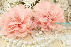 2Pc.Chiffon Lace Fabric Flower  Shabby Chic  Lace by rosecarmen, $3.79